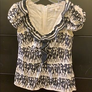 Nanette Lenore silk black & white blouse